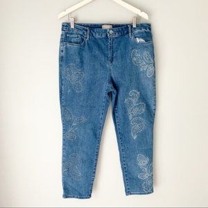 Chico's Patterned Ankle Skinny Denim Jeans